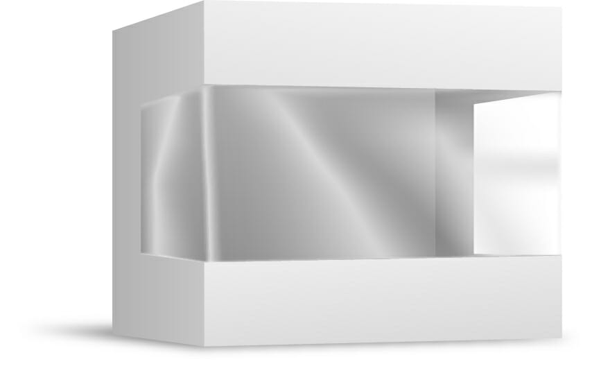 pudełko plastikowe z okienkiem